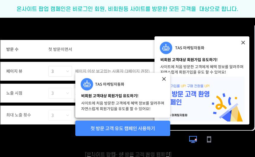 온사이트 팝업 캠페인은 비로그인 회원, 비회원 등 사이트를 방문한 모든 고객을 대상으로 합니다.