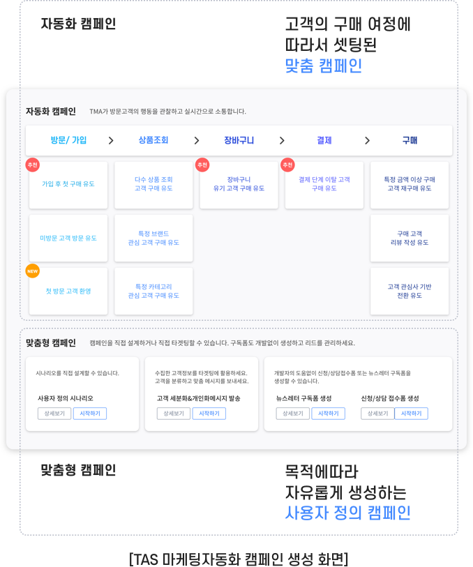 TAS 마케팅자동화 캠페인 생성 화면