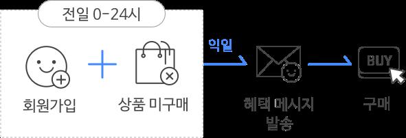 특정 페이지 인입과 목표 페이지 도달하지 않았을 떄, 익일 메시지 발송을 하고, 전환 유도를 한다.